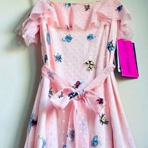 RARE:Betsey Johnson Bumble bee critter maxi dress